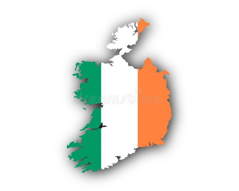 Kaart en vlag van Ierland vector illustratie