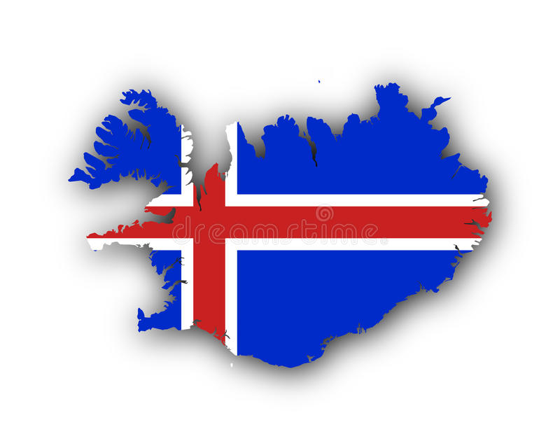 Kaart en vlag van IJsland royalty-vrije illustratie
