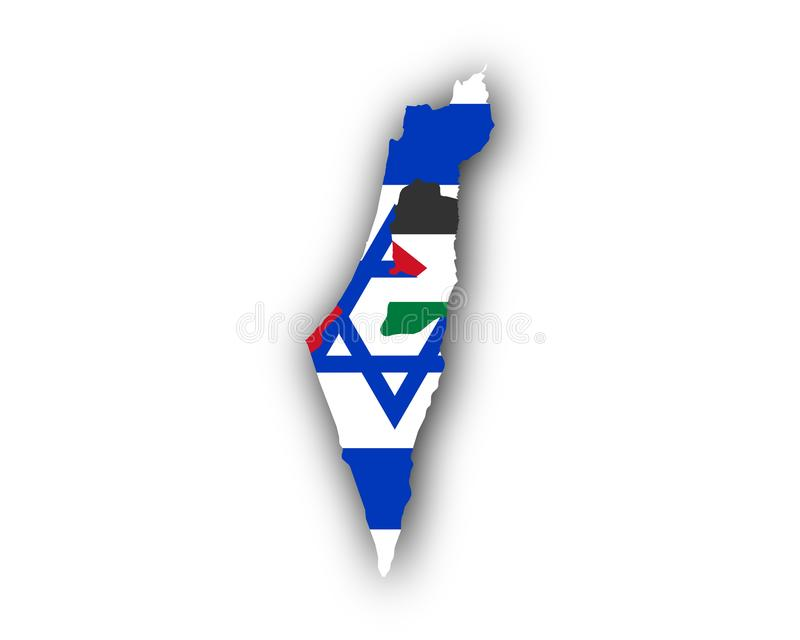 Kaart en vlag van Israël en Palestina stock illustratie