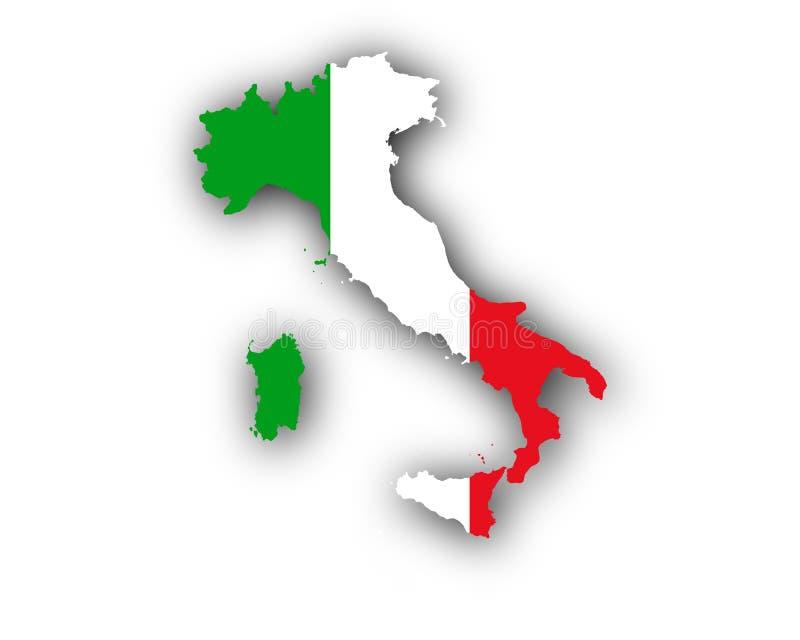 Kaart en vlag van Italië stock illustratie