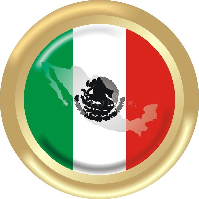 Kaart en vlag van Mexico royalty-vrije illustratie