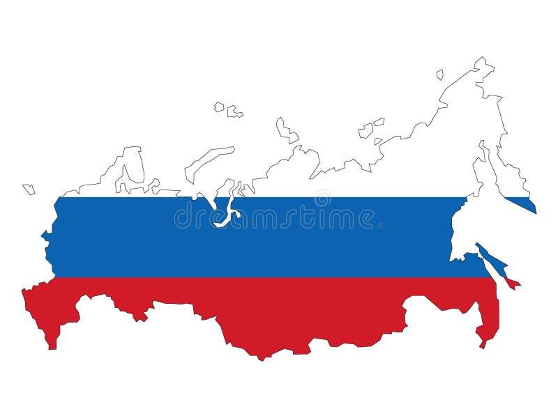 Kaart en vlag van Rusland royalty-vrije illustratie