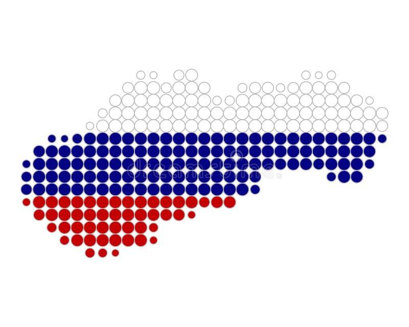 Kaart en vlag van Slowakije royalty-vrije illustratie