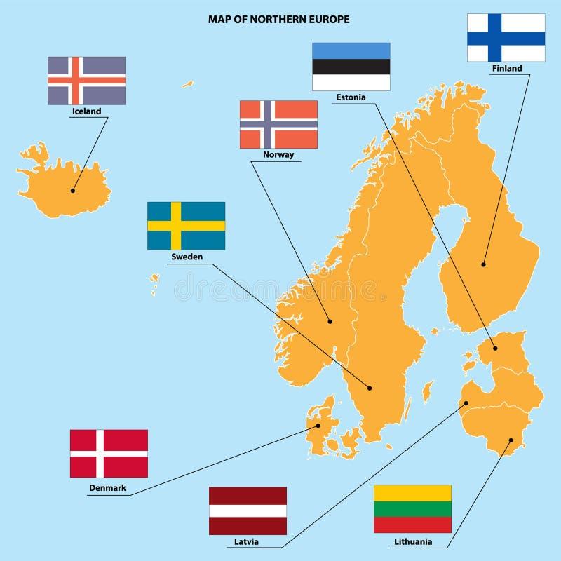 Kaart en vlaggen van Noord-Europa stock illustratie