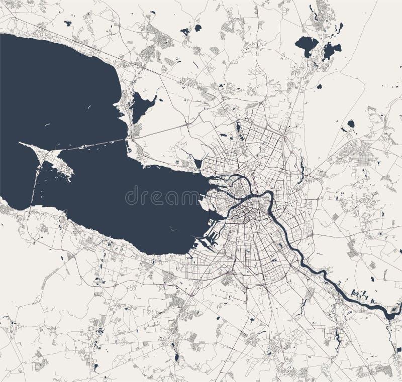 Kaart Heilige Petersburg, Rusland stock illustratie