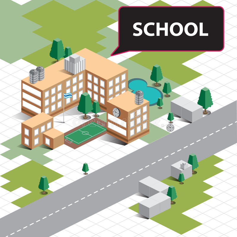 Kaart Isometrische school vector illustratie