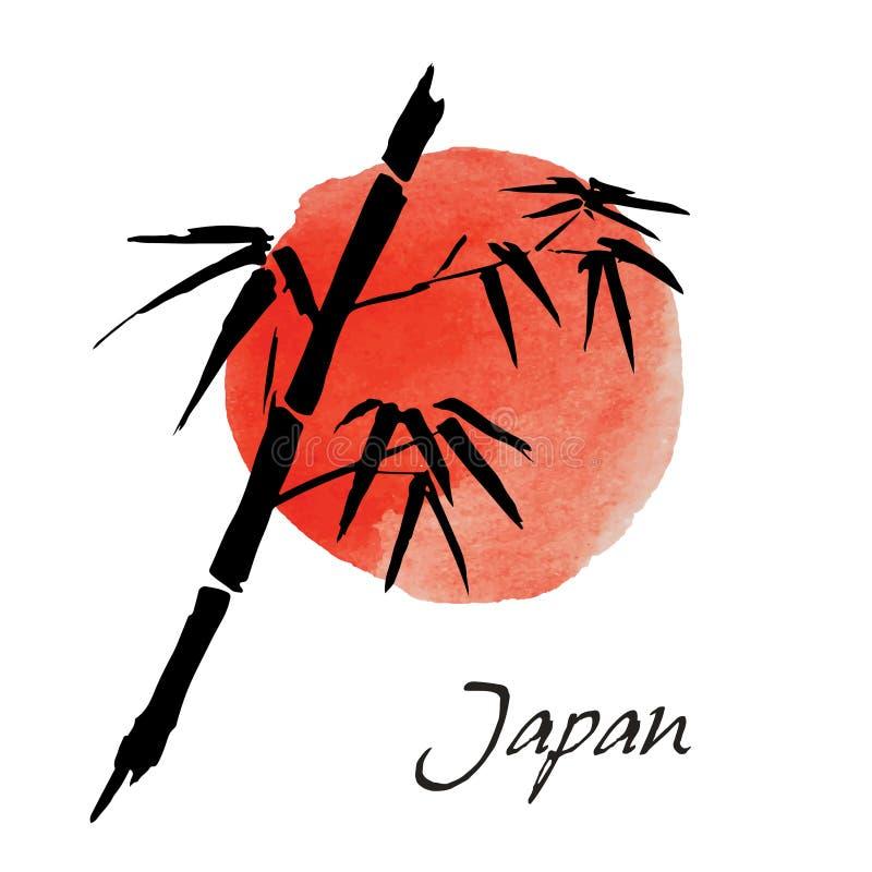 Kaart met bamboe op witte achtergrond in stijl sumi-e Hand-drawn met inkt Vector illustratie Vlag van Japan royalty-vrije illustratie