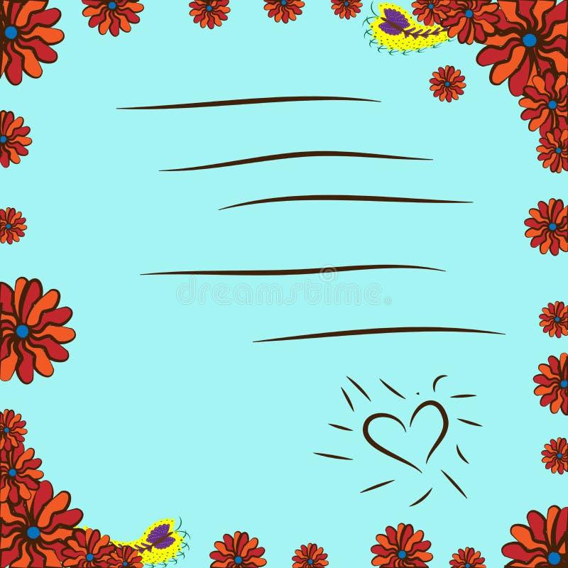 Kaart met bloemen en vlinder kaart met bloemen en vlinder royalty-vrije illustratie