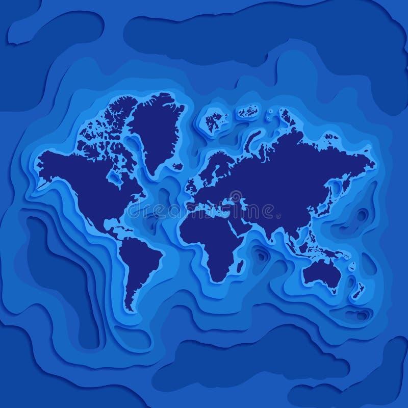 Kaart met continenten en vasteland onder oceanen royalty-vrije illustratie
