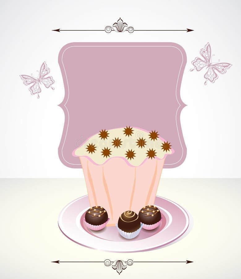Kaart met cupcake en chocolade vector illustratie