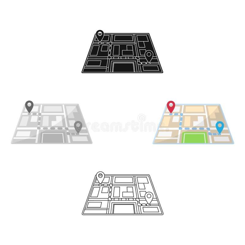 Kaart met de beweging van de routetaxi De navigator van de taxipost voor het vervoeren van passagiers Het enige pictogram van de  royalty-vrije illustratie