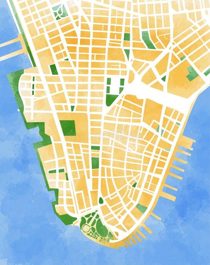 Kaart met de hand de getrokken Stad van Manhattan, New York, royalty-vrije illustratie