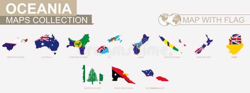 Kaart met de inzameling van de landen van vlagoceanian royalty-vrije illustratie