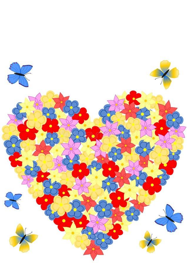 Kaart met een hart van bloemen wordt gevormd die vector illustratie