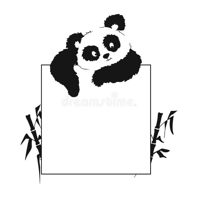 Kaart met een panda die van hierboven kijkt stock illustratie