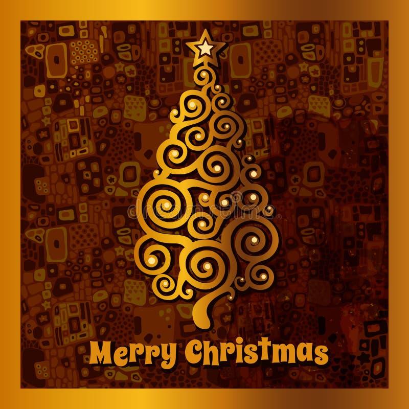 Kaart met gouden Kerstboom vector illustratie