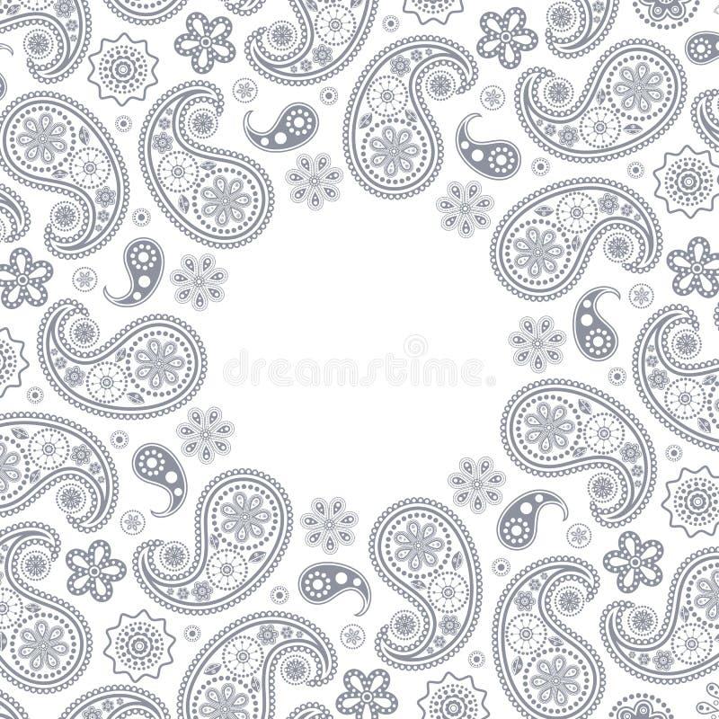 Kaart met grijs Paisley stock illustratie
