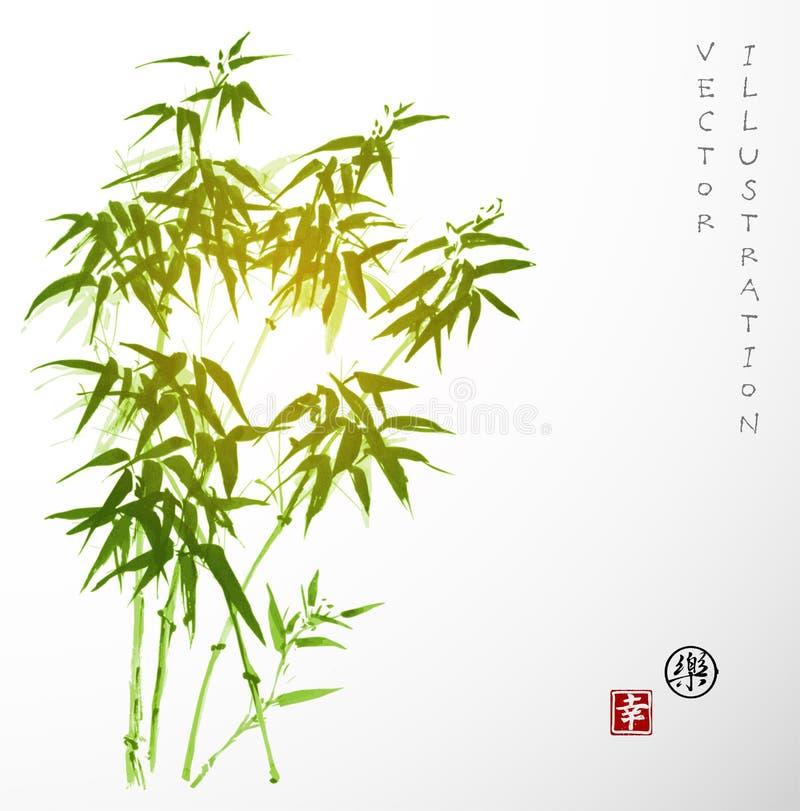 Kaart met groen bamboe in stijl sumi-e stock illustratie