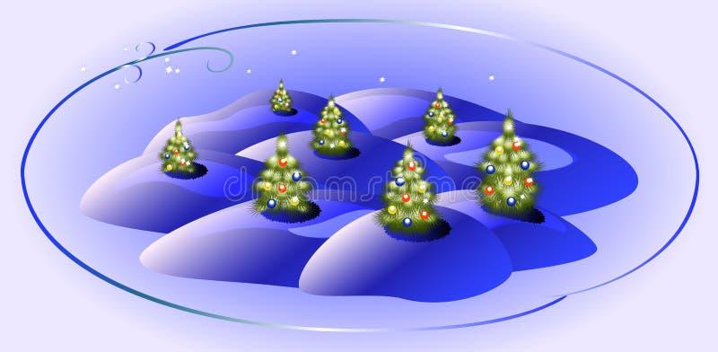 Kaart met groene Kerstbomen Editable vectorillustratie van origineel EPS10 vectorillustratie stock illustratie