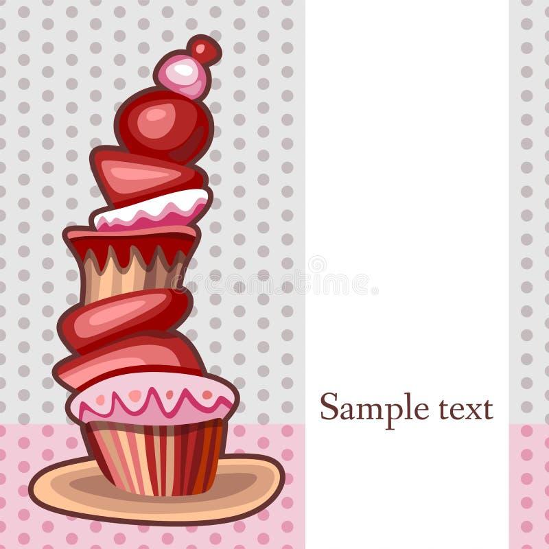 Kaart met grote cupcake vector illustratie