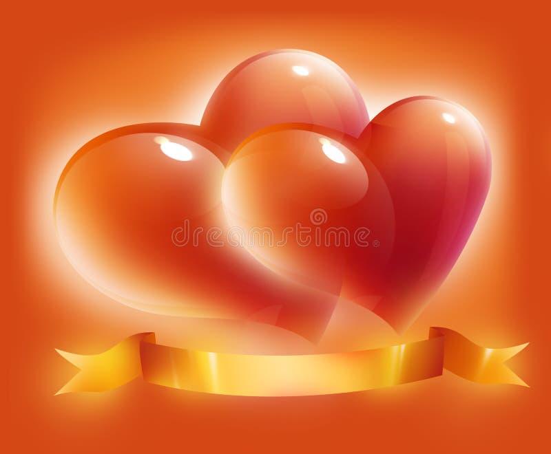 Kaart met harten en lint voor de dag van de valentijnskaart stock illustratie