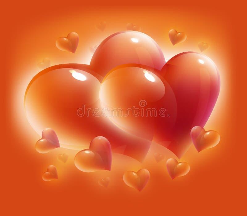 Kaart met harten voor de dag van de valentijnskaart royalty-vrije illustratie