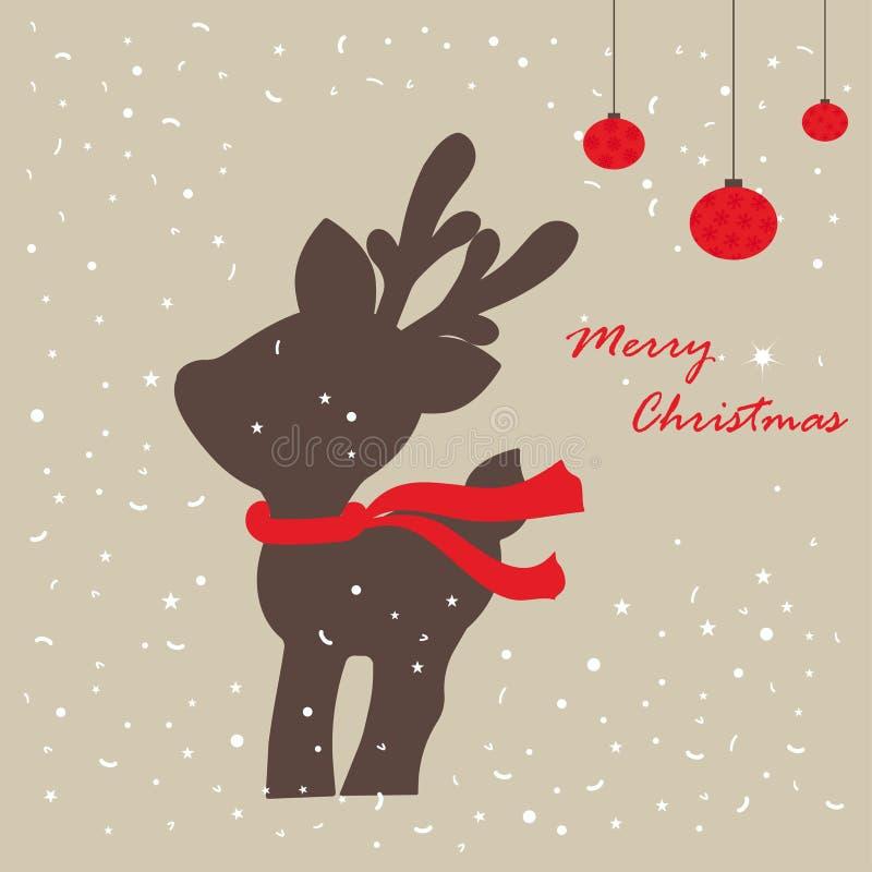 Kaart met Kerstmisherten royalty-vrije illustratie