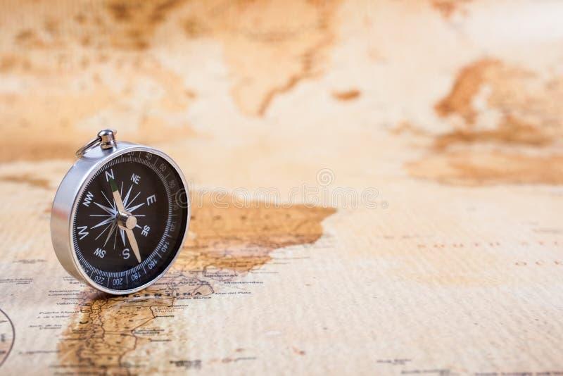 Kaart met Kompas stock foto's
