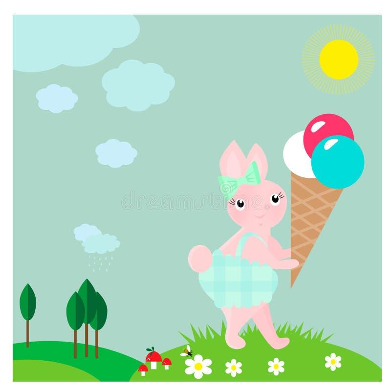Kaart met leuk weinig konijntje met roomijs vector illustratie