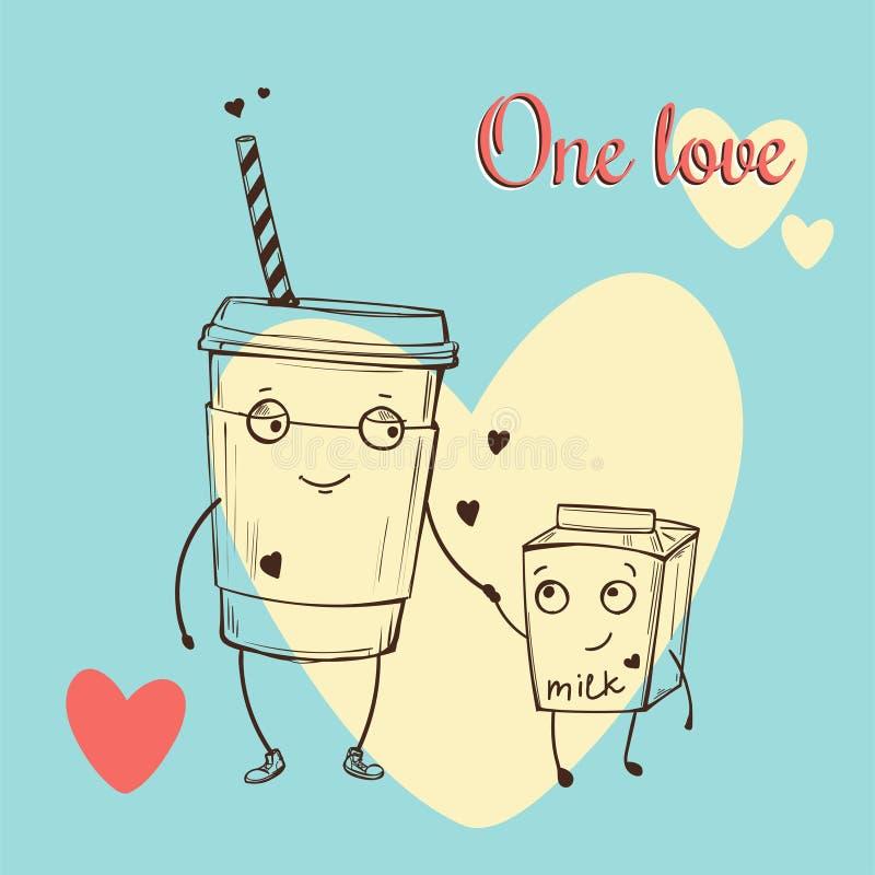 Kaart met leuke cappuccino en melkkarakters in liefde op blauwe achtergrond met groot wit hart Vector kleurenillustratie royalty-vrije illustratie