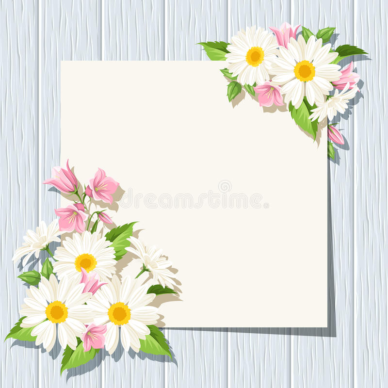Kaart met madeliefjes en klokjesbloemen op een blauwe houten achtergrond Vector eps-10 stock illustratie