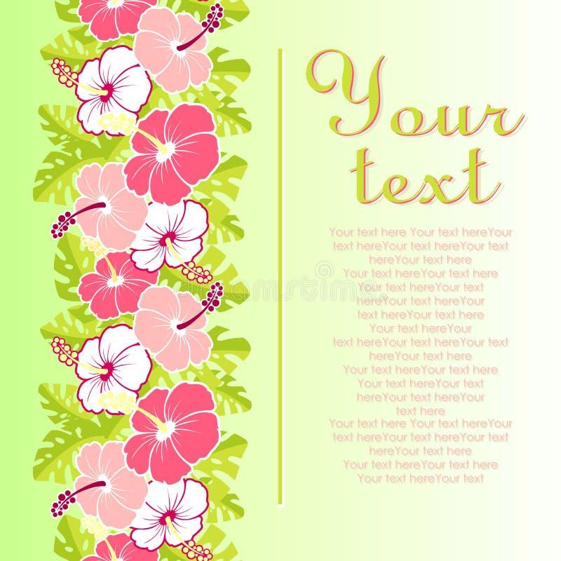 Kaart met met hibiscusbloemen en bladeren vector illustratie