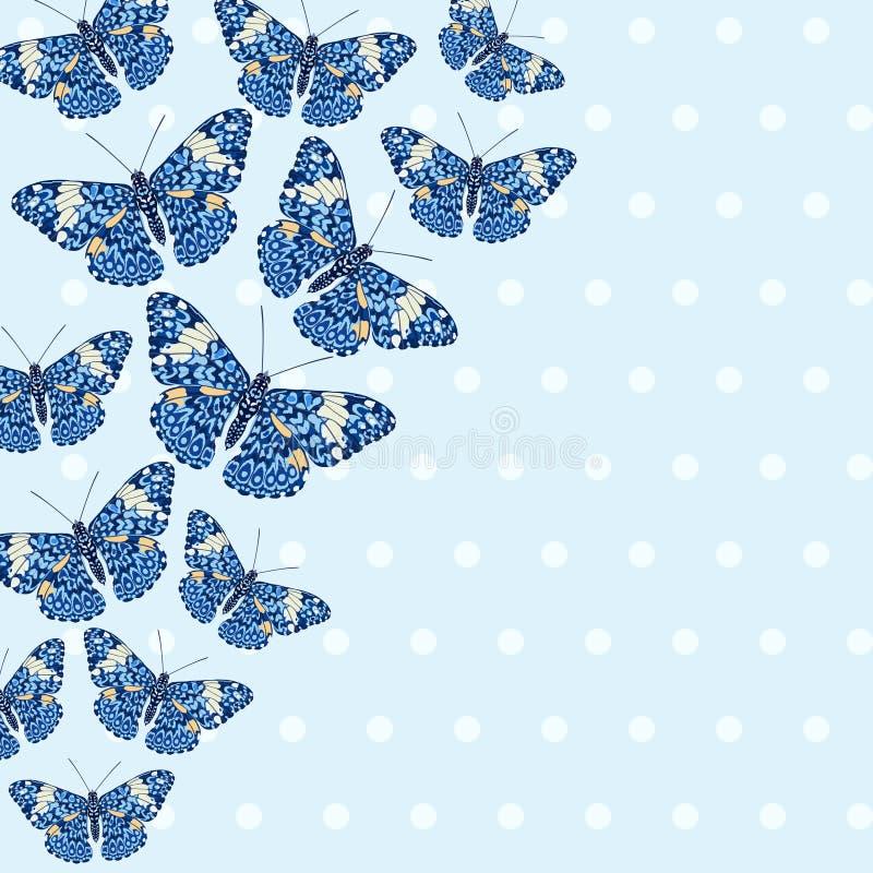 Kaart met mooie heldere vlinders royalty-vrije illustratie