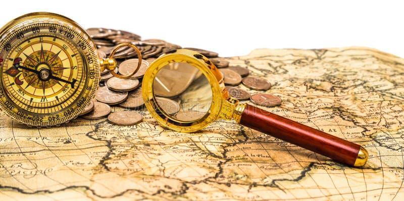 Kaart met muntstukken royalty-vrije stock fotografie