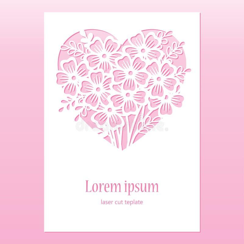 Kaart met openwork hart met bloemen Laser scherp malplaatje stock illustratie