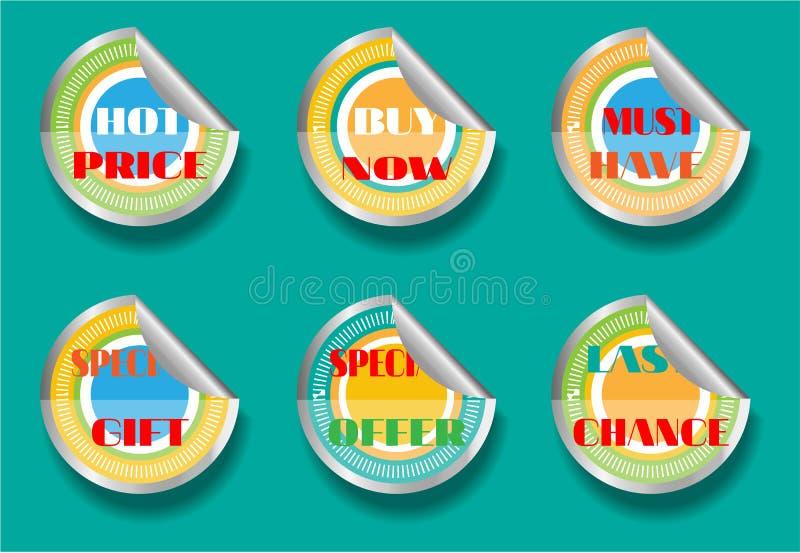 Kaart met reeks van zes, geïsoleerde stickers, tekst vector illustratie