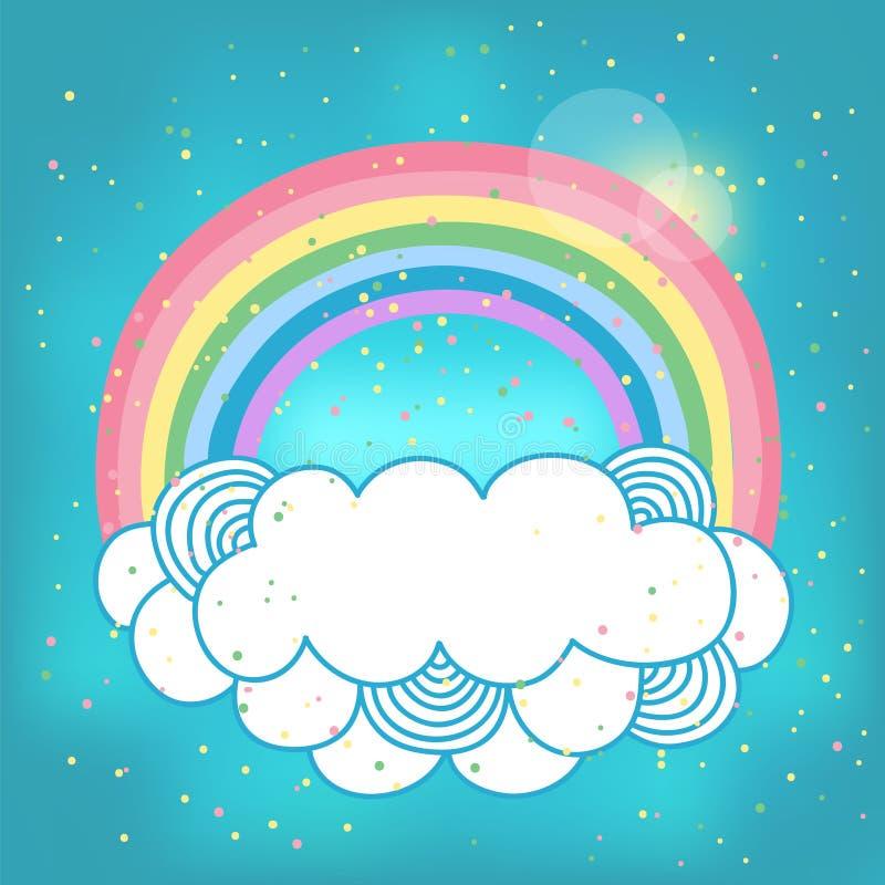 Kaart met regenboog en wolk. stock illustratie