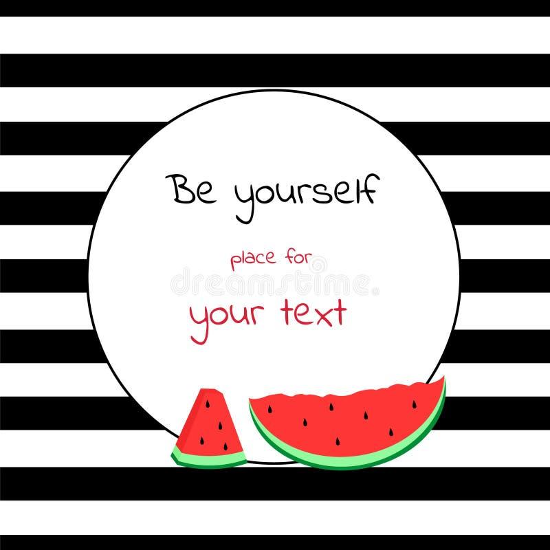 Kaart met ronde plaats voor tekst gestreept met watermeloen royalty-vrije illustratie