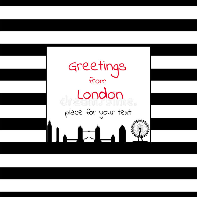 Kaart met vierkante plaats voor tekst met strepen en de stad sk van Londen royalty-vrije illustratie