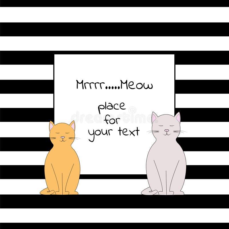 Kaart met vierkante plaats voor tekst met strepen en twee katten vector illustratie