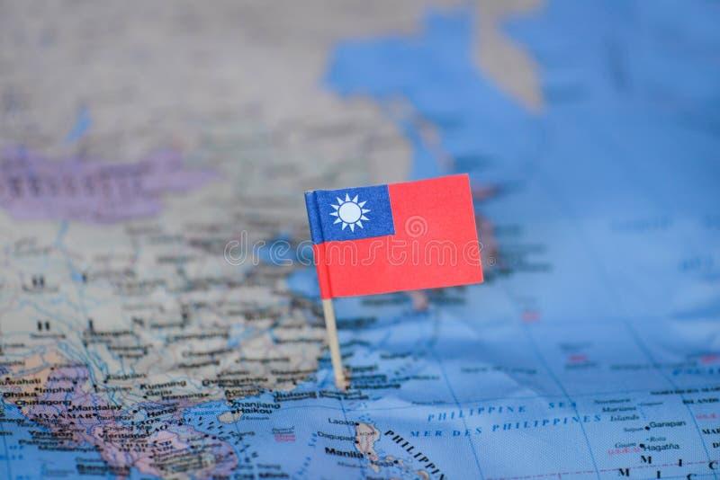 Kaart met vlag van Taiwan royalty-vrije stock foto