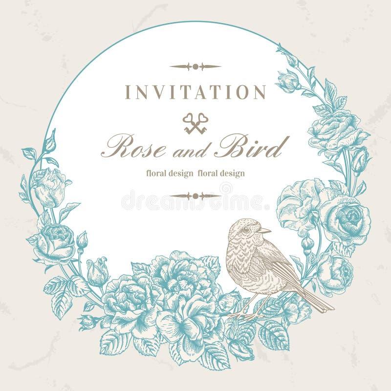Kaart met vogel en rozen royalty-vrije illustratie