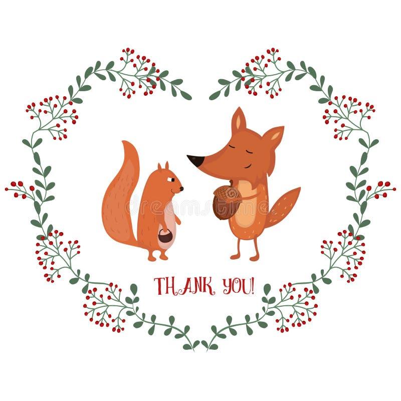 Kaart met vos en eekhoorn royalty-vrije illustratie