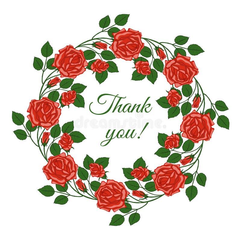 Kaart met woorden van dankbaarheid in bloemenkader royalty-vrije stock afbeelding