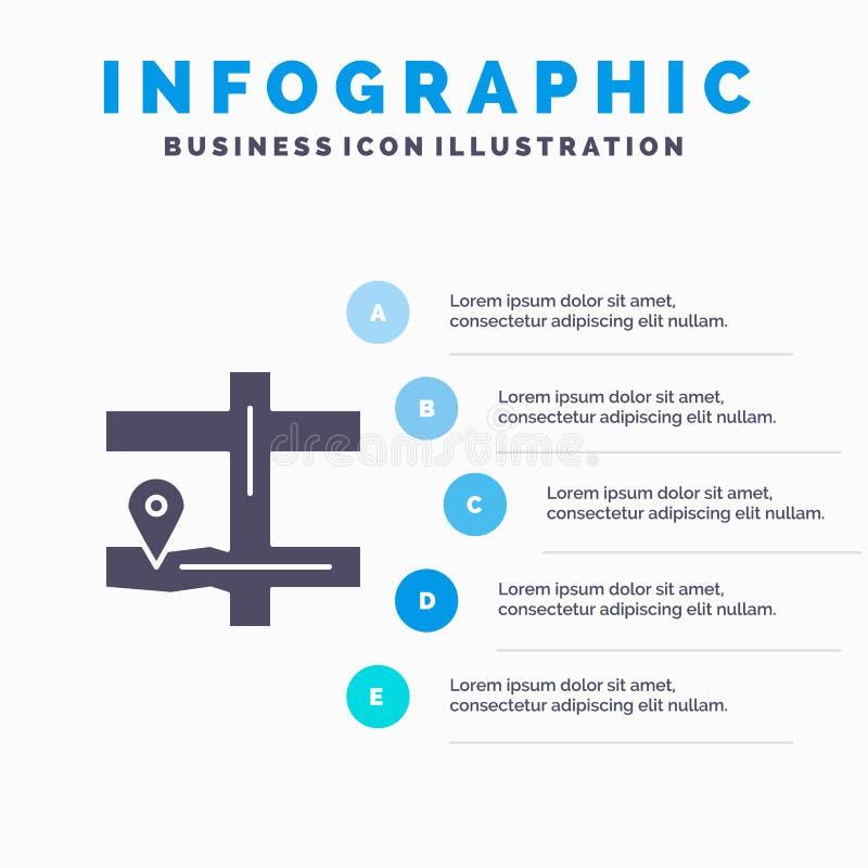 Kaart, Navigatie, Pin Solid Icon Infographics 5 de Achtergrond van de Stappenpresentatie vector illustratie