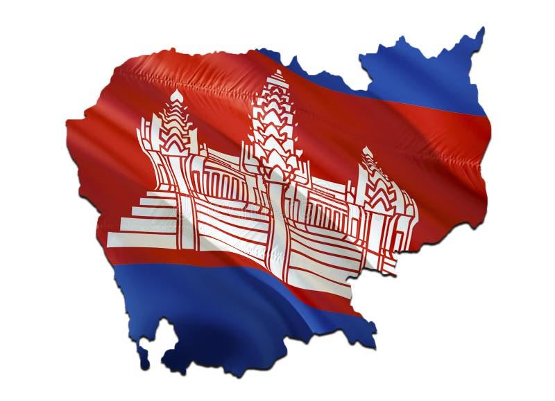 Kaart op de golvende Vlag van Kambodja 3D het teruggeven Kambodja kaart en golvende vlag op de kaart van Azië Het nationale symbo royalty-vrije stock fotografie