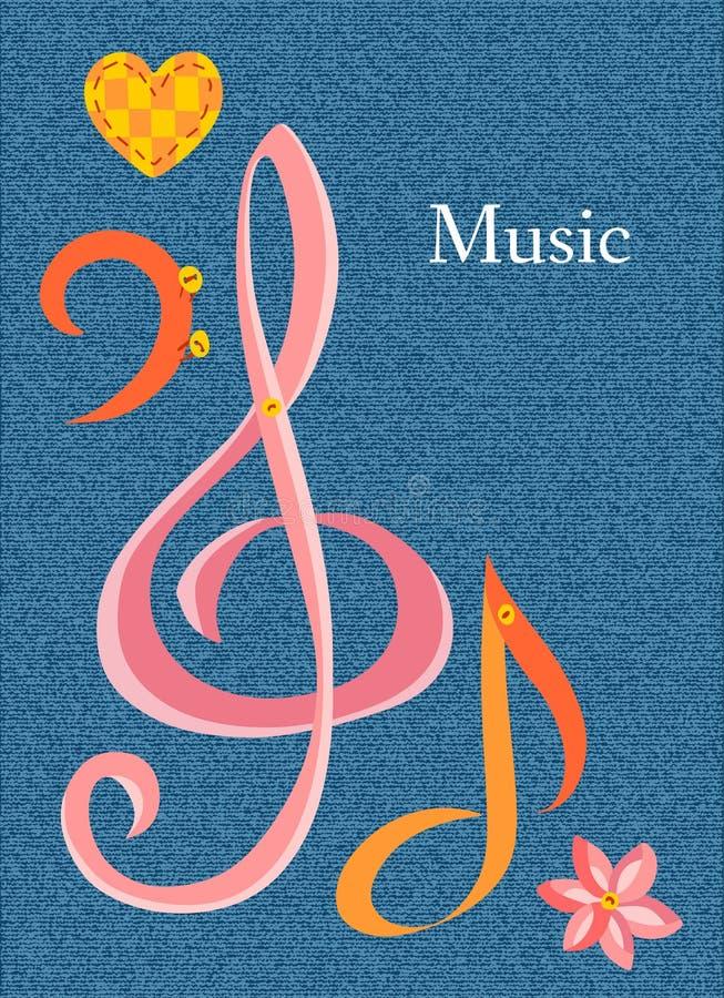 Kaart op muzikaal thema met plaats voor tekst royalty-vrije illustratie