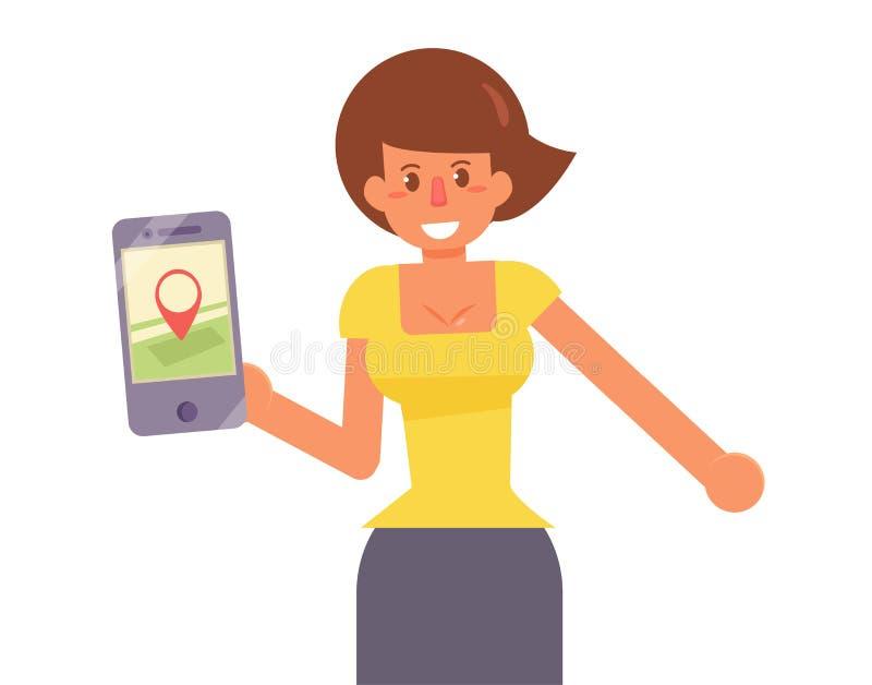 Kaart op smartphone Vector vector illustratie