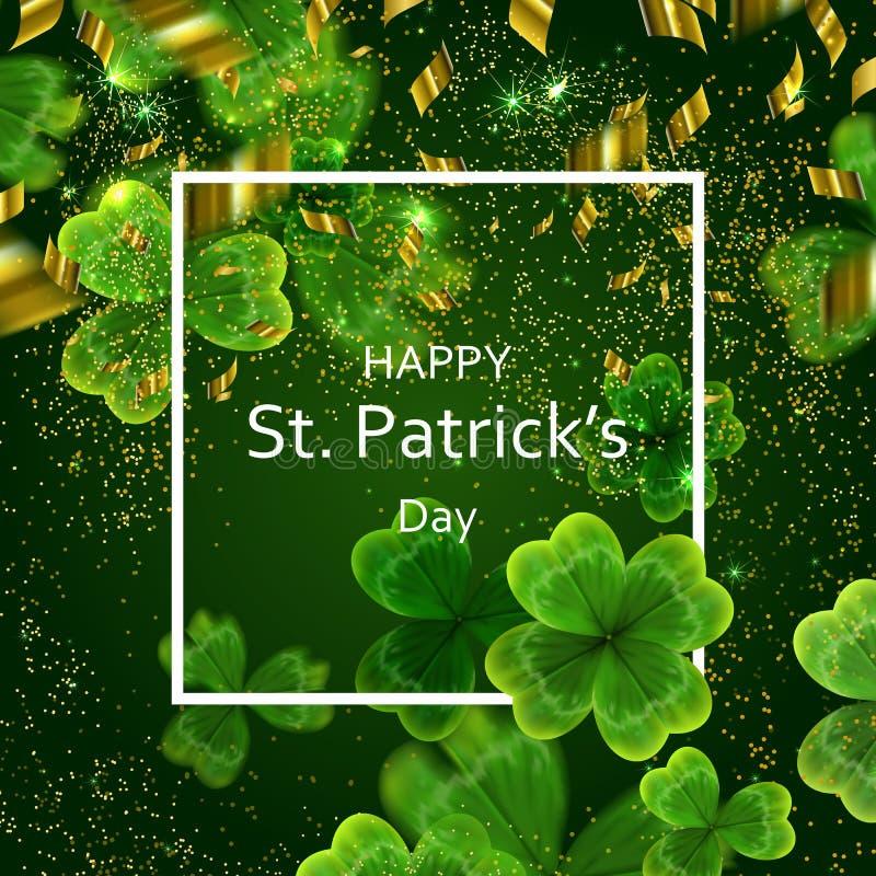 Kaart op St Patrick ` s Dag 3d effect klavervector vector illustratie