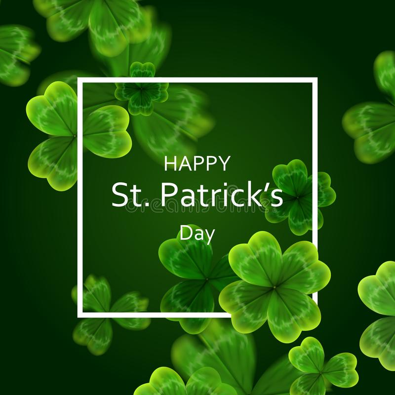 Kaart op St Patrick ` s Dag 3d effect klavervector royalty-vrije illustratie